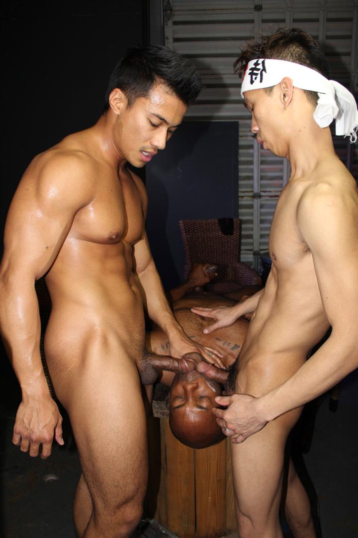 Peter-Fever-Osiris-Blade-and-Levy-Foxx-and-Ken-Ott-Black-Asian-Interracial-Gay-Sex-10 Osiris Blade Eats Two Loads Of Cum From Big Asian Dicks